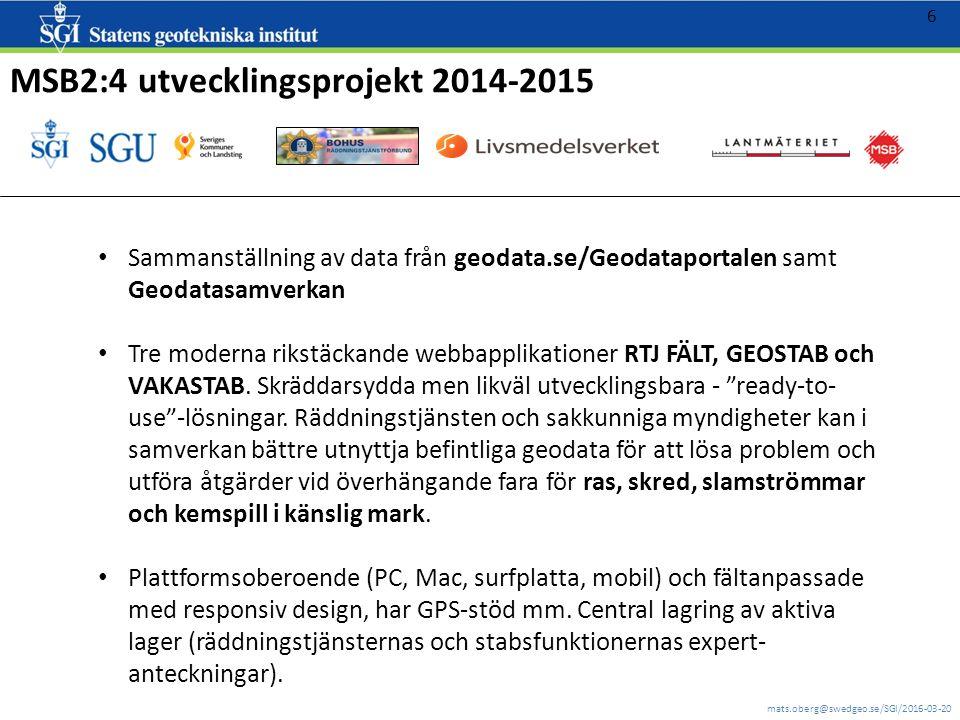 mats.oberg@swedgeo.se/SGI/2016-03-20 7 2016: skarpa och övningsapplikationer En sida: http://gis.swedgeo.se/rtj/