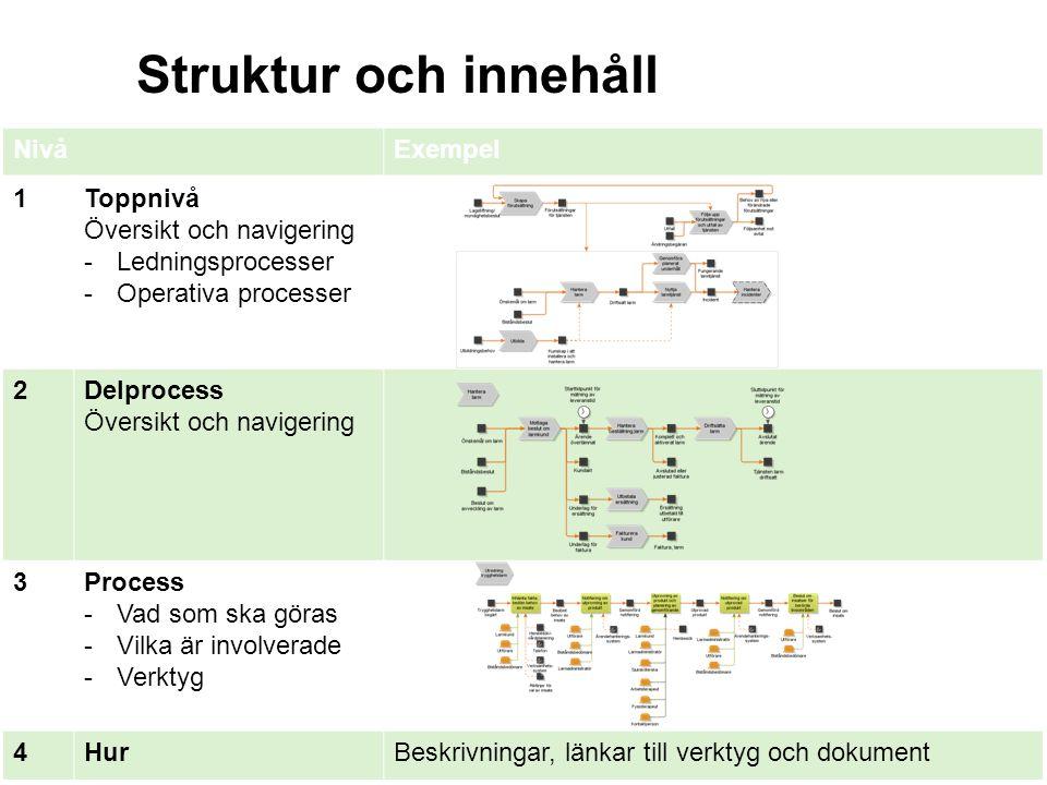 Struktur och innehåll NivåExempel 1Toppnivå Översikt och navigering -Ledningsprocesser -Operativa processer 2Delprocess Översikt och navigering 3Proce