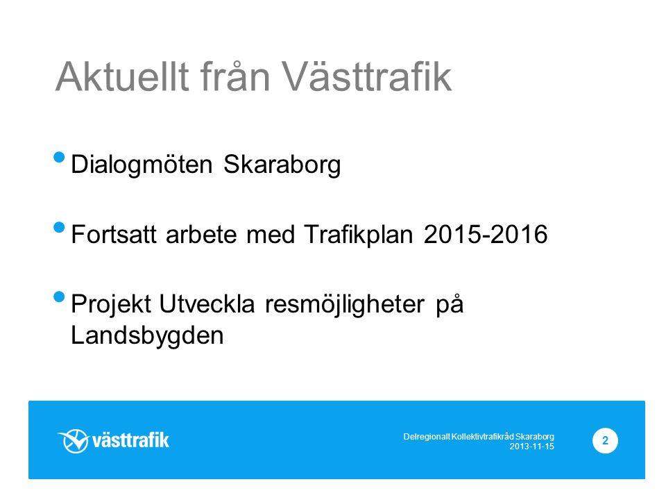 Aktuellt från Västtrafik Dialogmöten Skaraborg Fortsatt arbete med Trafikplan 2015-2016 Projekt Utveckla resmöjligheter på Landsbygden Delregionalt Kollektivtrafikråd Skaraborg 2013-11-15 2