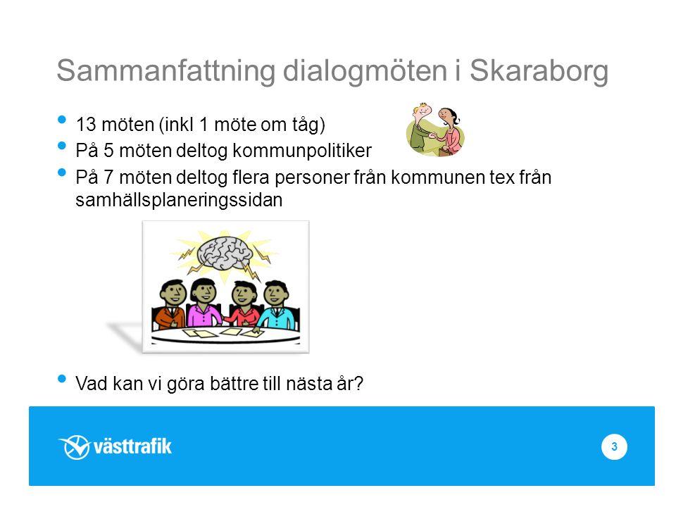 Sammanfattning dialogmöten i Skaraborg 13 möten (inkl 1 möte om tåg) På 5 möten deltog kommunpolitiker På 7 möten deltog flera personer från kommunen tex från samhällsplaneringssidan Vad kan vi göra bättre till nästa år.