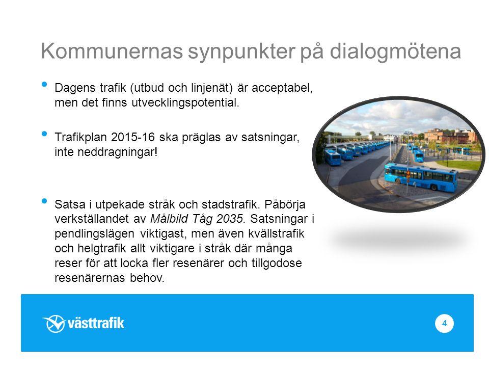 Kommunernas synpunkter på dialogmötena Dagens trafik (utbud och linjenät) är acceptabel, men det finns utvecklingspotential.