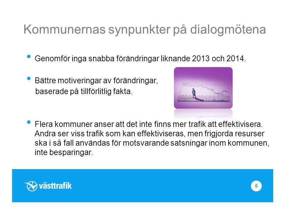 Kommunernas synpunkter på dialogmötena Genomför inga snabba förändringar liknande 2013 och 2014.