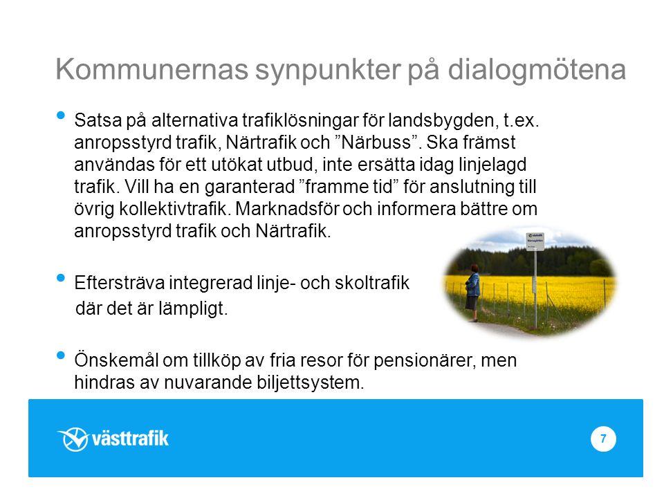Kommunernas synpunkter på dialogmötena Satsa på alternativa trafiklösningar för landsbygden, t.ex.