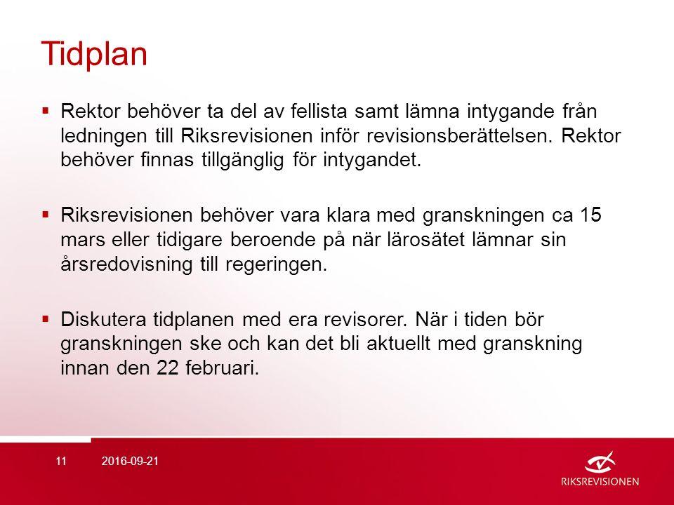 Tidplan  Rektor behöver ta del av fellista samt lämna intygande från ledningen till Riksrevisionen inför revisionsberättelsen.