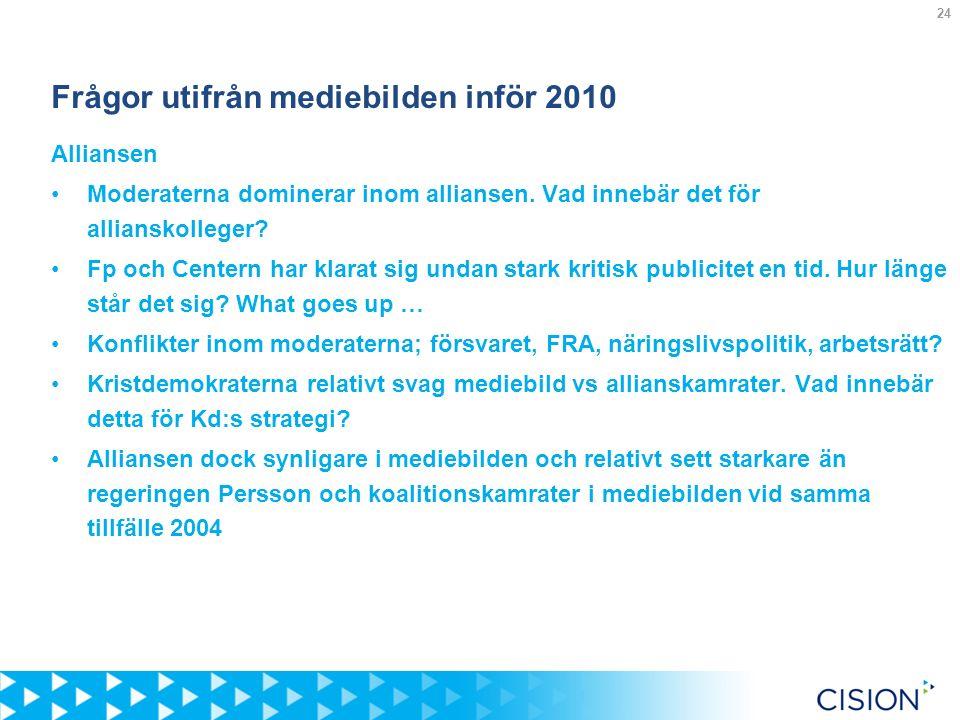 24 Frågor utifrån mediebilden inför 2010 Alliansen Moderaterna dominerar inom alliansen.