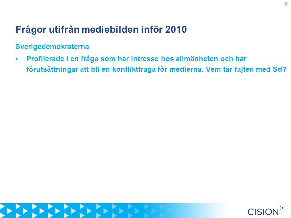 26 Frågor utifrån mediebilden inför 2010 Sverigedemokraterna Profilerade i en fråga som har intresse hos allmänheten och har förutsättningar att bli en konfliktfråga för medierna.