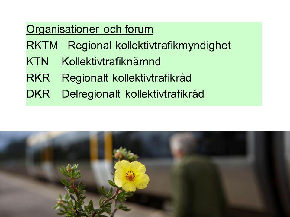 Organisationer och forum RKTM Regional kollektivtrafikmyndighet KTN Kollektivtrafiknämnd RKR Regionalt kollektivtrafikråd DKR Delregionalt kollektivtrafikråd