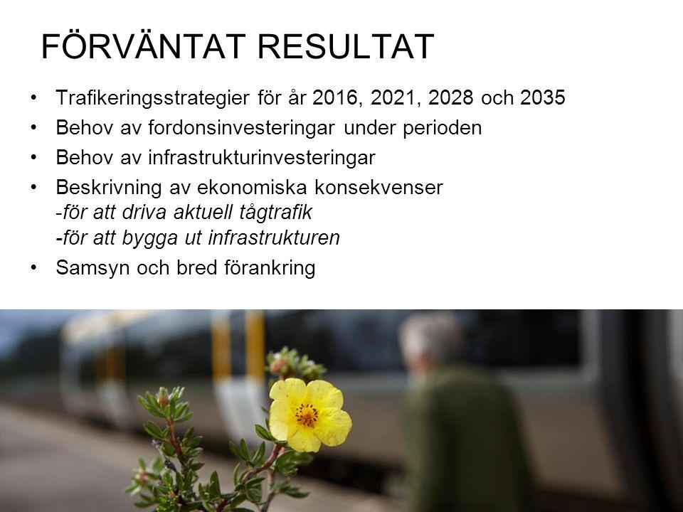 FÖRVÄNTAT RESULTAT Trafikeringsstrategier för år 2016, 2021, 2028 och 2035 Behov av fordonsinvesteringar under perioden Behov av infrastrukturinvesteringar Beskrivning av ekonomiska konsekvenser -för att driva aktuell tågtrafik -för att bygga ut infrastrukturen Samsyn och bred förankring