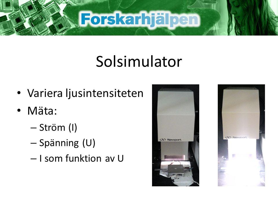 Solsimulator Variera ljusintensiteten Mäta: – Ström (I) – Spänning (U) – I som funktion av U