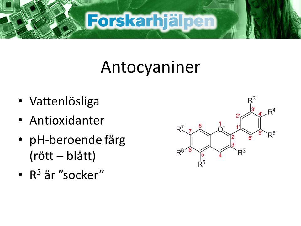 Antocyaniner Vattenlösliga Antioxidanter pH-beroende färg (rött – blått) R 3 är socker