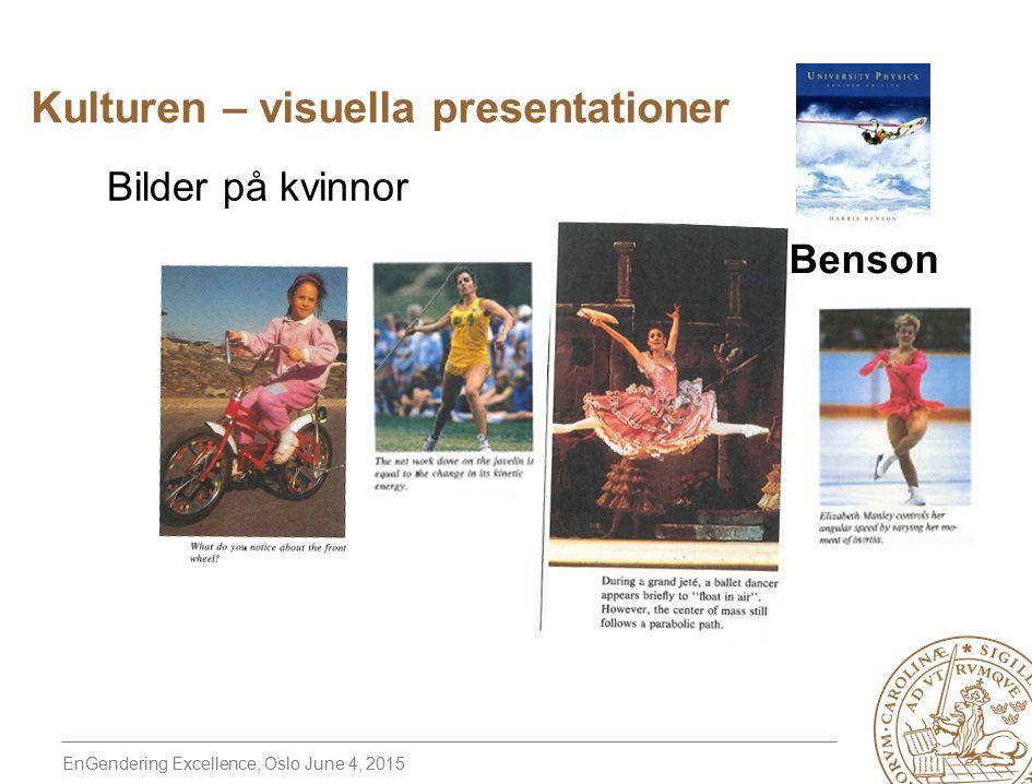 EnGendering Excellence, Oslo June 4, 2015 Bilder på kvinnor Benson Kulturen – visuella presentationer