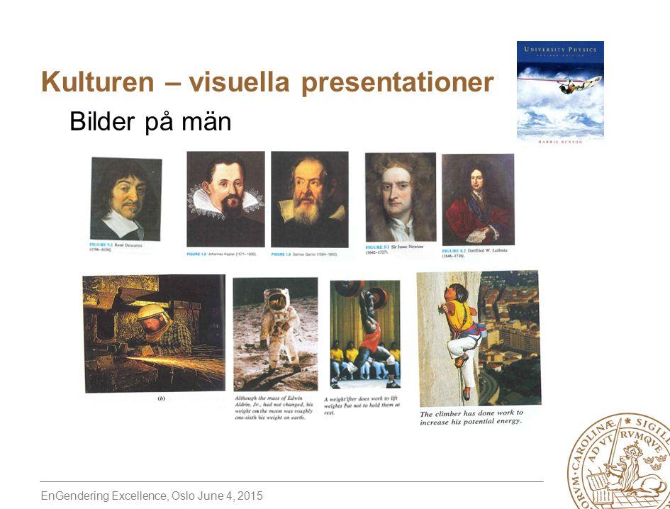 EnGendering Excellence, Oslo June 4, 2015 Bilder på män Kulturen – visuella presentationer