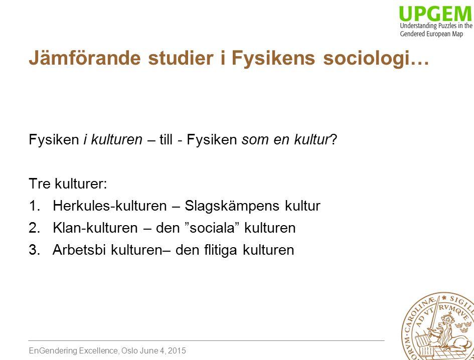 EnGendering Excellence, Oslo June 4, 2015 Jämförande studier i Fysikens sociologi… Fysiken i kulturen – till - Fysiken som en kultur.