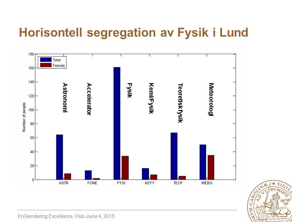 EnGendering Excellence, Oslo June 4, 2015 Horisontell segregation av Fysik i Lund AstronomiAcceleratorFysik Kemi/Fysik Teoretisk fysik Meteorologi