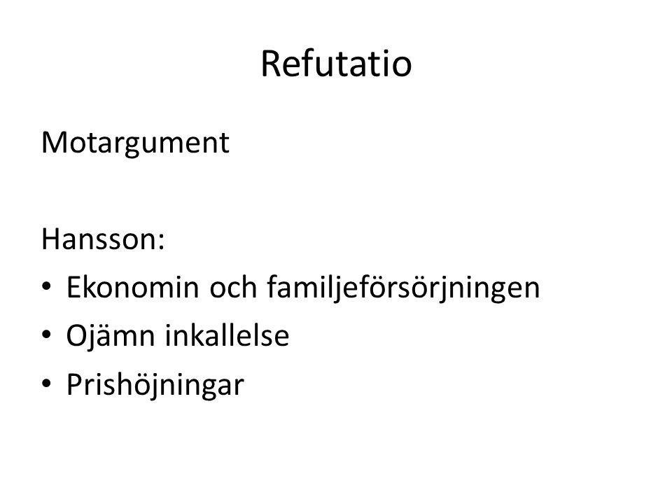 Refutatio Motargument Hansson: Ekonomin och familjeförsörjningen Ojämn inkallelse Prishöjningar