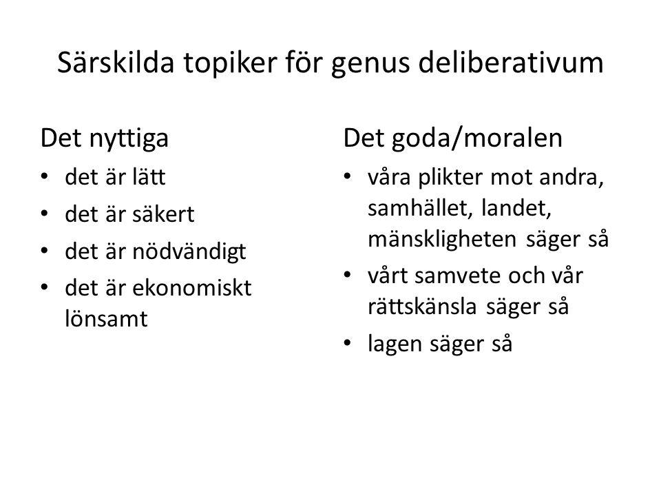 Särskilda topiker för genus deliberativum Det nyttiga det är lätt det är säkert det är nödvändigt det är ekonomiskt lönsamt Det goda/moralen våra plik