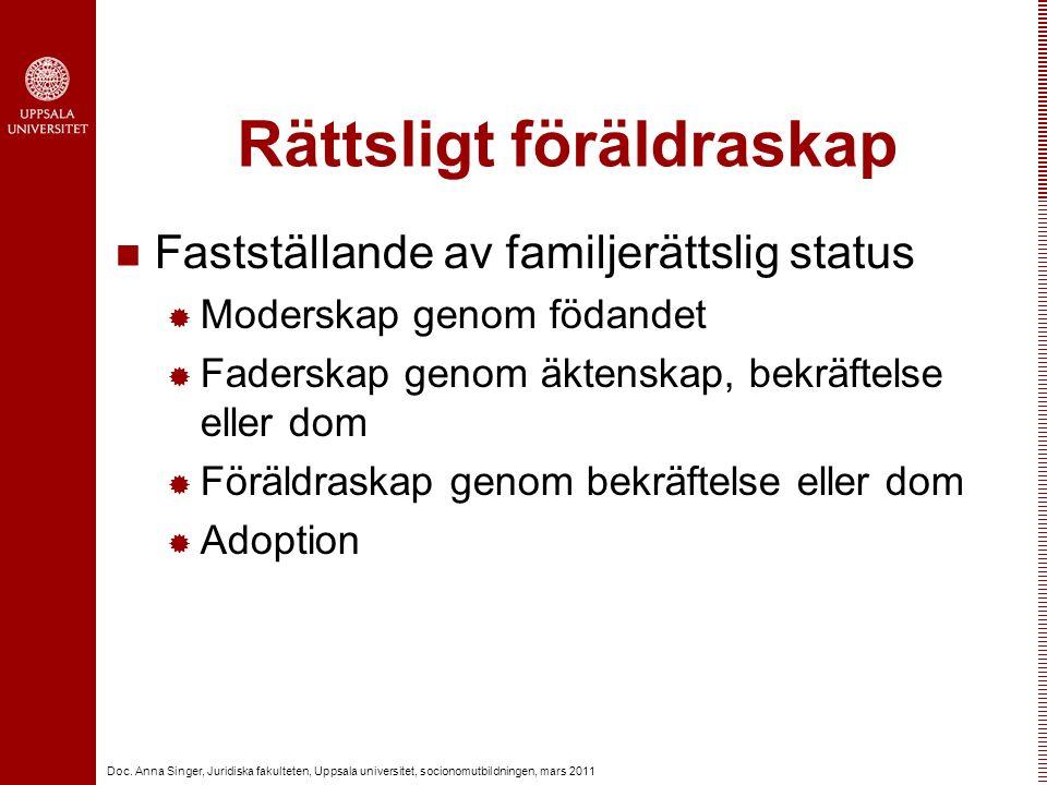 Doc. Anna Singer, Juridiska fakulteten, Uppsala universitet, socionomutbildningen, mars 2011 Rättsligt föräldraskap Fastställande av familjerättslig s