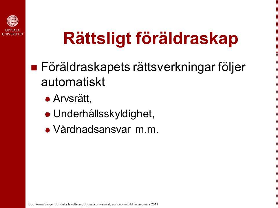Doc. Anna Singer, Juridiska fakulteten, Uppsala universitet, socionomutbildningen, mars 2011 Rättsligt föräldraskap Föräldraskapets rättsverkningar fö