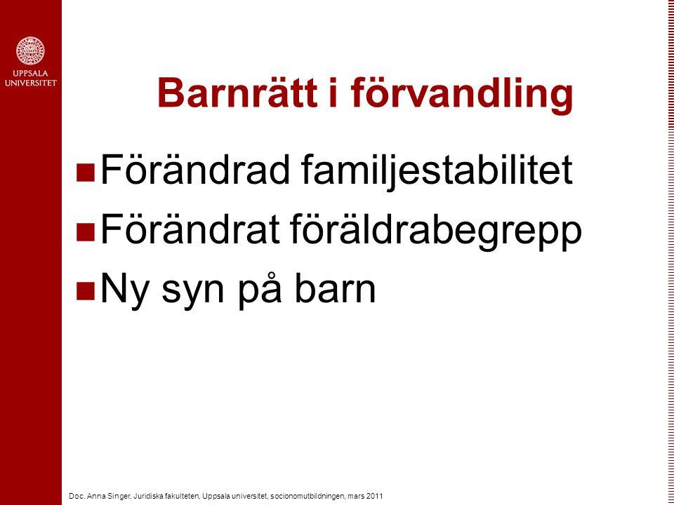Doc. Anna Singer, Juridiska fakulteten, Uppsala universitet, socionomutbildningen, mars 2011 Barnrätt i förvandling Förändrad familjestabilitet Föränd