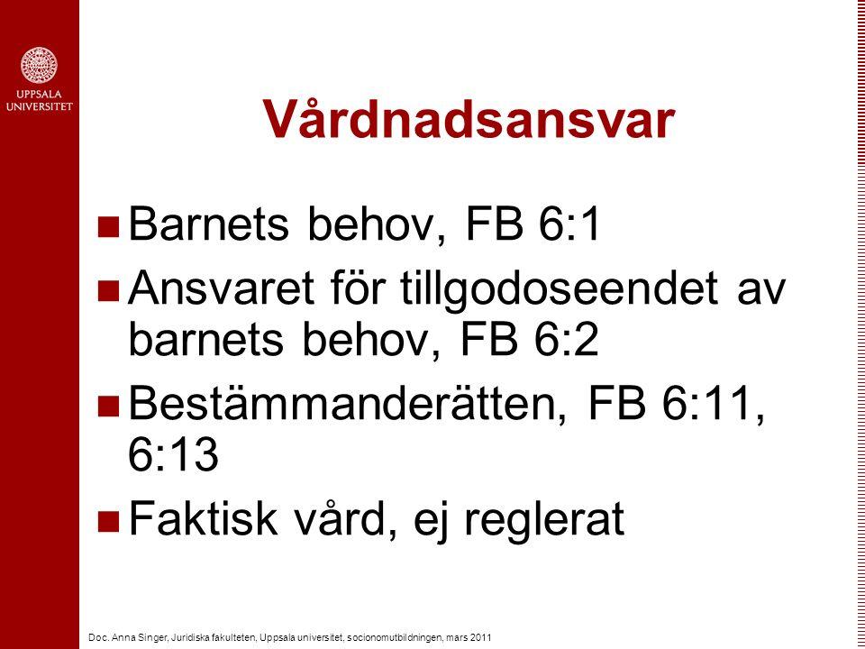Doc. Anna Singer, Juridiska fakulteten, Uppsala universitet, socionomutbildningen, mars 2011 Vårdnadsansvar Barnets behov, FB 6:1 Ansvaret för tillgod
