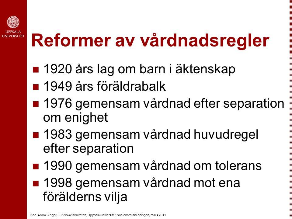 Doc. Anna Singer, Juridiska fakulteten, Uppsala universitet, socionomutbildningen, mars 2011 Reformer av vårdnadsregler 1920 års lag om barn i äktensk