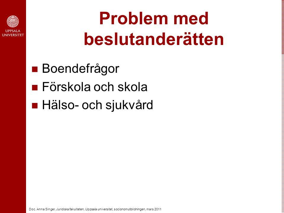 Doc. Anna Singer, Juridiska fakulteten, Uppsala universitet, socionomutbildningen, mars 2011 Problem med beslutanderätten Boendefrågor Förskola och sk