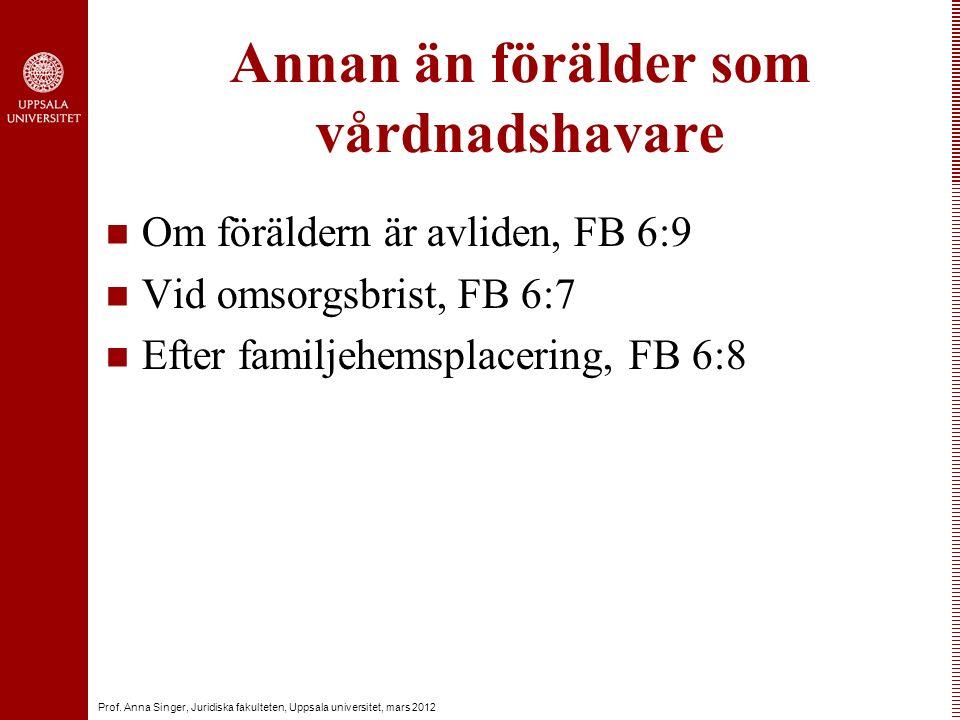 Prof. Anna Singer, Juridiska fakulteten, Uppsala universitet, mars 2012 Annan än förälder som vårdnadshavare Om föräldern är avliden, FB 6:9 Vid omsor