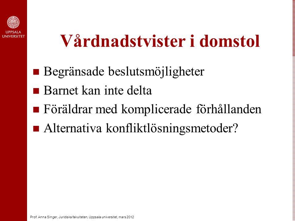 Prof. Anna Singer, Juridiska fakulteten, Uppsala universitet, mars 2012 Vårdnadstvister i domstol Begränsade beslutsmöjligheter Barnet kan inte delta