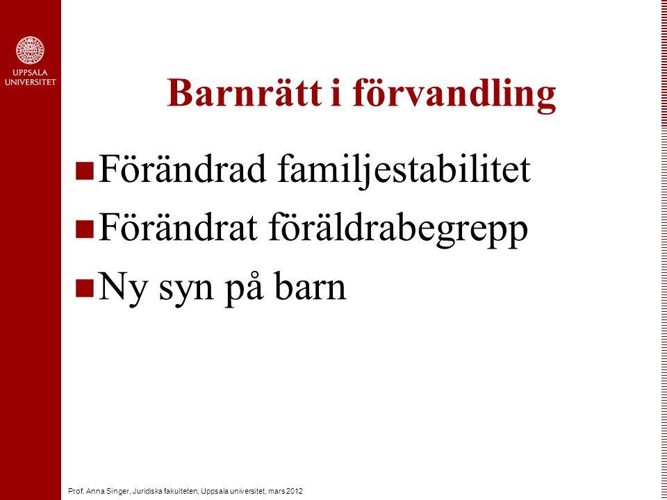Prof. Anna Singer, Juridiska fakulteten, Uppsala universitet, mars 2012 Barnrätt i förvandling Förändrad familjestabilitet Förändrat föräldrabegrepp N