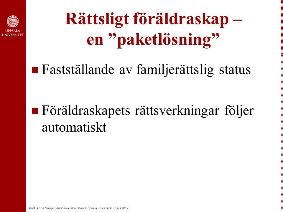 """Prof. Anna Singer, Juridiska fakulteten, Uppsala universitet, mars 2012 Rättsligt föräldraskap – en """"paketlösning"""" Fastställande av familjerättslig st"""