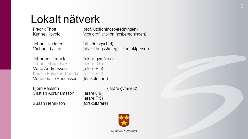 Lokalt nätverk Fredrik Thott (ordf. utbildningsberedningen) Kennet Hovold(vice ordf. utbildningsberedningen) Johan Lundgren(utbildningschef) Michael R