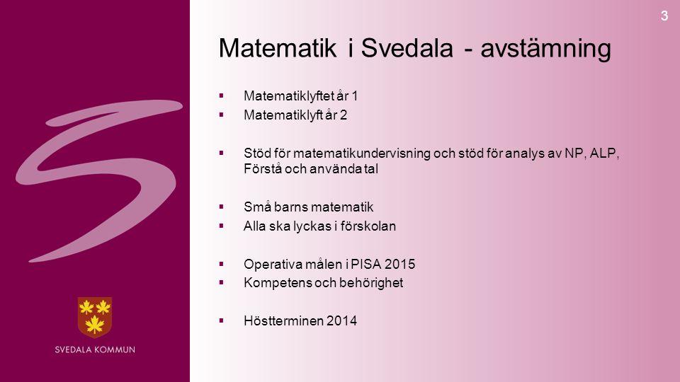 3 Matematik i Svedala - avstämning  Matematiklyftet år 1  Matematiklyft år 2  Stöd för matematikundervisning och stöd för analys av NP, ALP, Förstå