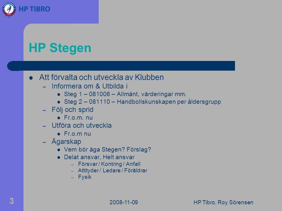 2008-11-09HP Tibro, Roy Sörensen 3 HP Stegen Att förvalta och utveckla av Klubben – Informera om & Utbilda i Steg 1 – 081006 – Allmänt, värderingar mm.
