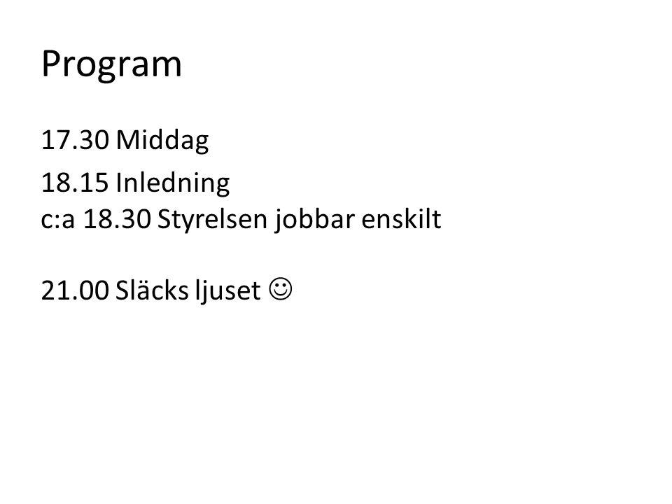 Program 17.30 Middag 18.15 Inledning c:a 18.30 Styrelsen jobbar enskilt 21.00 Släcks ljuset