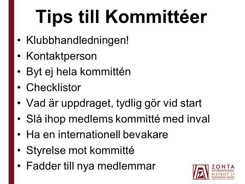 Tips till Kommittéer Klubbhandledningen.