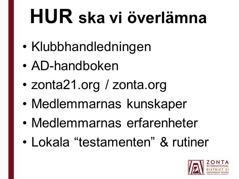 HUR ska vi överlämna Klubbhandledningen AD-handboken zonta21.org / zonta.org Medlemmarnas kunskaper Medlemmarnas erfarenheter Lokala testamenten & rutiner