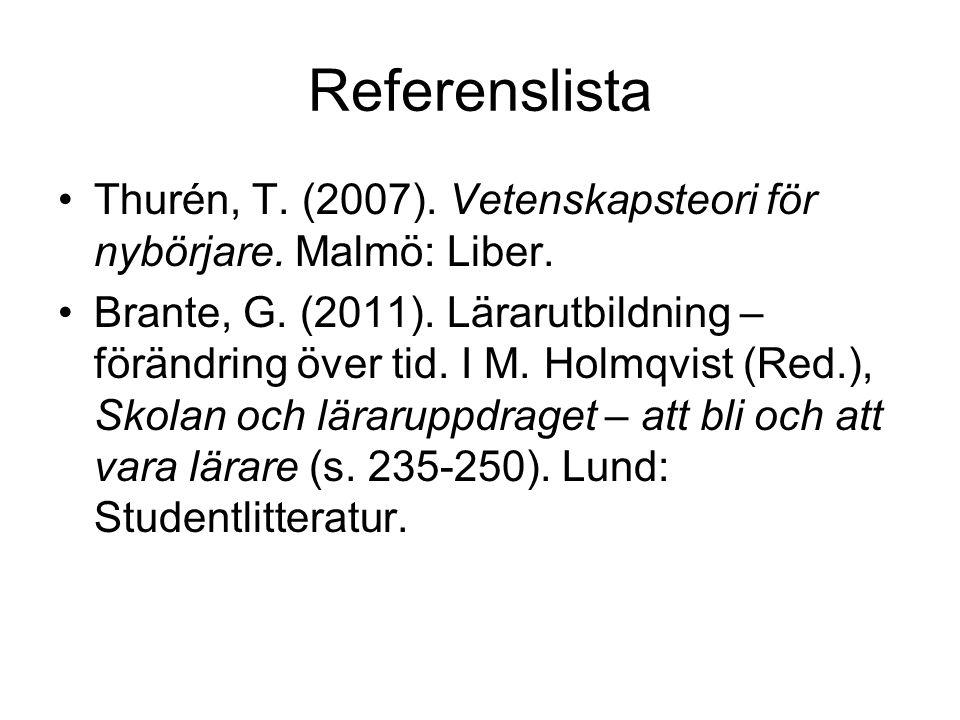 Referenslista Thurén, T. (2007). Vetenskapsteori för nybörjare.