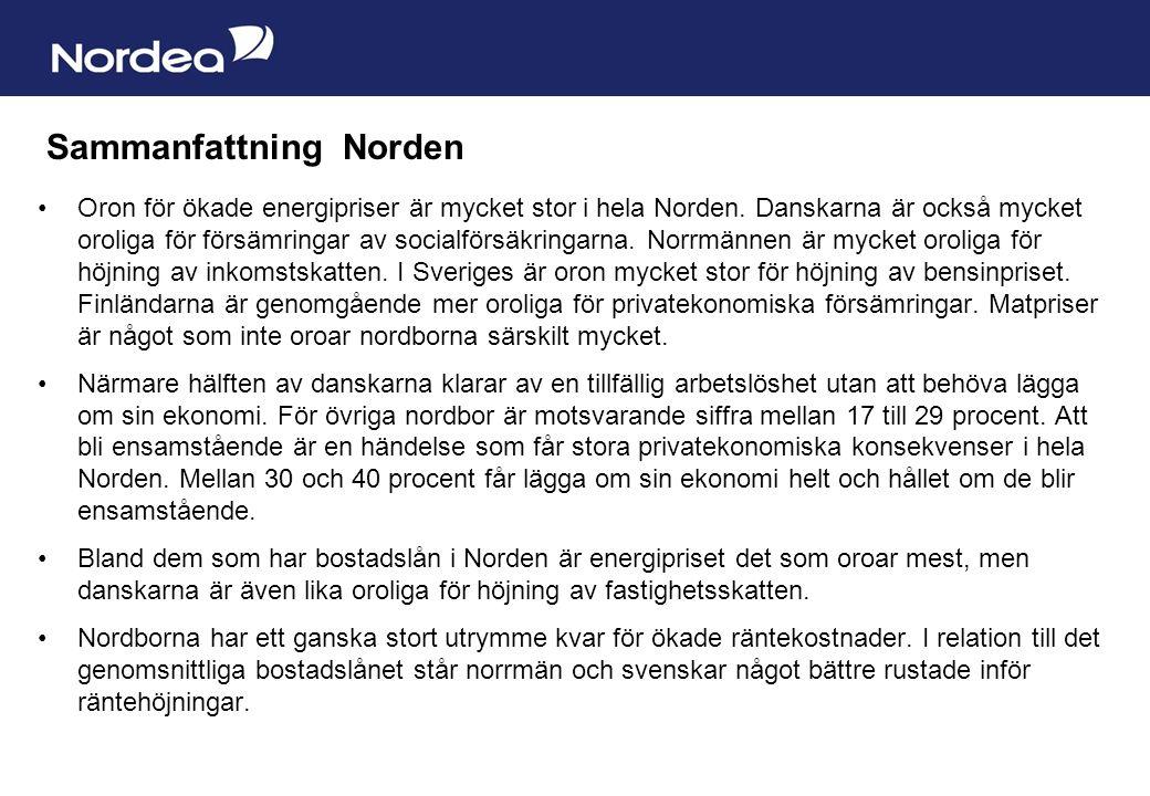 Sida 22 Sammanfattning Norden Oron för ökade energipriser är mycket stor i hela Norden.