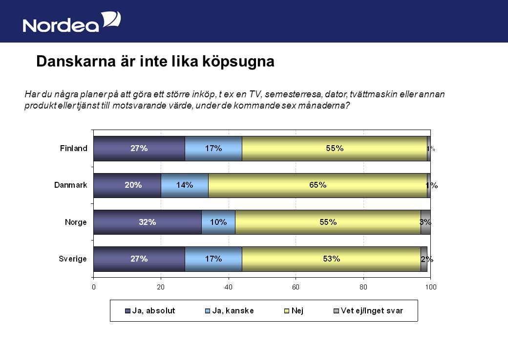 Sida 2 Danskarna är inte lika köpsugna Har du några planer på att göra ett större inköp, t ex en TV, semesterresa, dator, tvättmaskin eller annan produkt eller tjänst till motsvarande värde, under de kommande sex månaderna