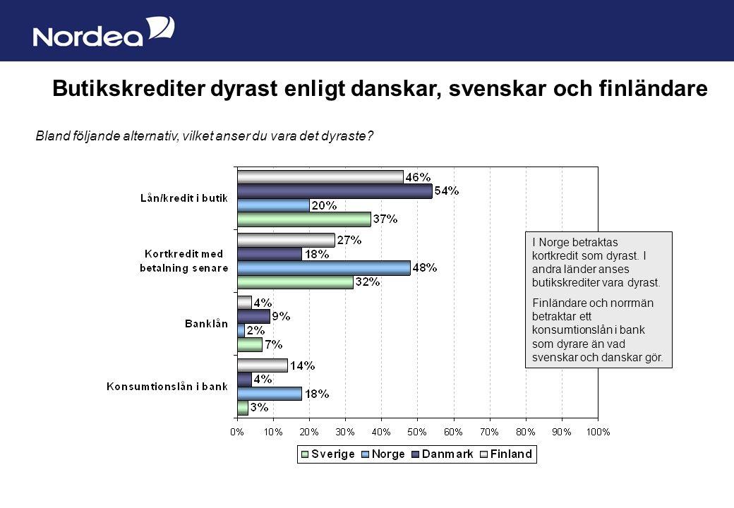 Sida 6 Butikskrediter dyrast enligt danskar, svenskar och finländare Bland följande alternativ, vilket anser du vara det dyraste.