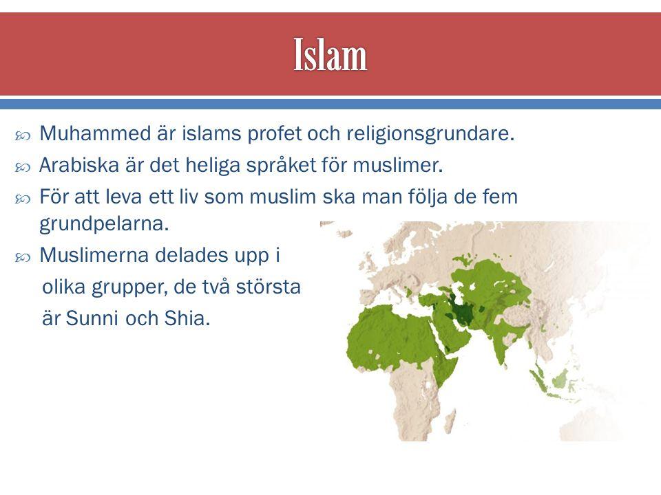  Muhammed är islams profet och religionsgrundare.