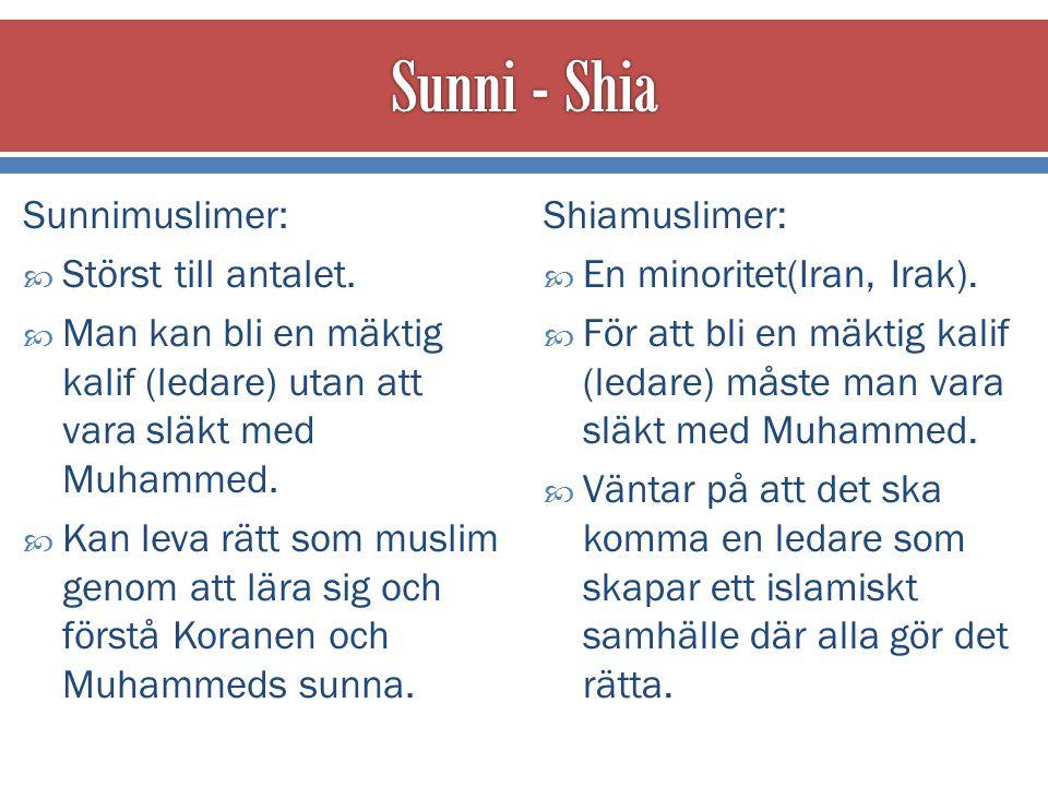 Sunnimuslimer:  Störst till antalet.