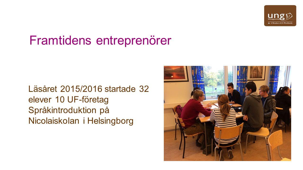 Framtidens entreprenörer Läsåret 2015/2016 startade 32 elever 10 UF-företag Språkintroduktion på Nicolaiskolan i Helsingborg