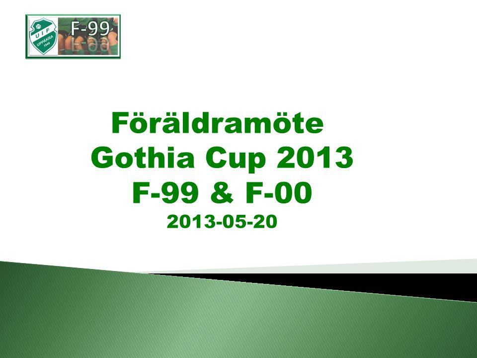 Föräldramöte Gothia Cup 2013 F-99 & F-00 2013-05-20