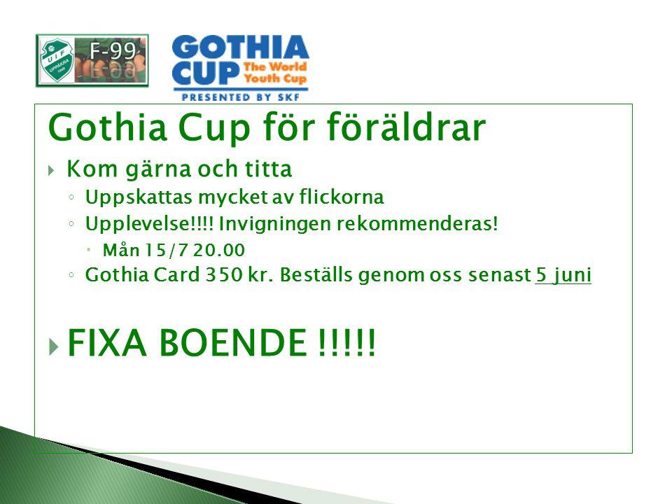 Gothia Cup för föräldrar  Kom gärna och titta ◦ Uppskattas mycket av flickorna ◦ Upplevelse!!!.