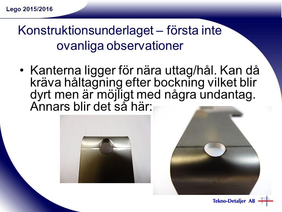 Lego 2015/2016 Konstruktionsunderlaget – första inte ovanliga observationer Kanterna ligger för nära uttag/hål.