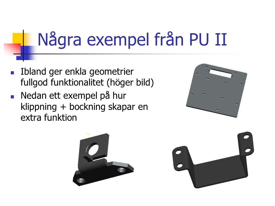 Några exempel från PU II Ibland ger enkla geometrier fullgod funktionalitet (höger bild) Nedan ett exempel på hur klippning + bockning skapar en extra funktion