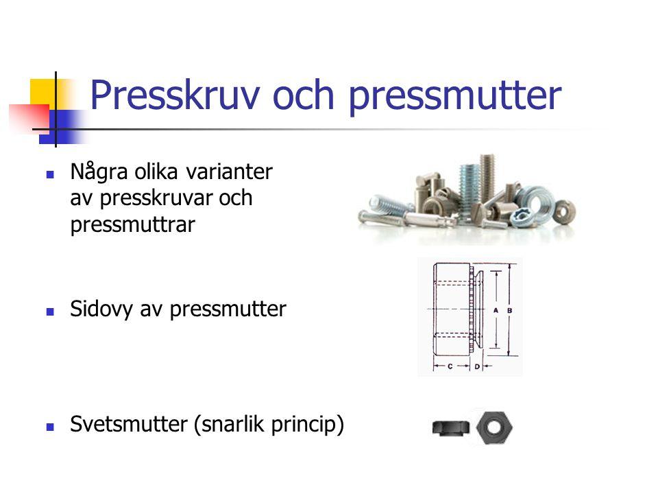 Presskruv och pressmutter Några olika varianter av presskruvar och pressmuttrar Sidovy av pressmutter Svetsmutter (snarlik princip)