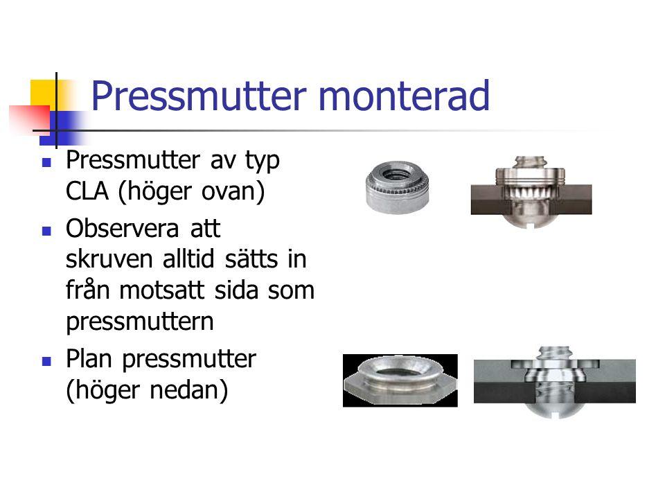 Pressmutter monterad Pressmutter av typ CLA (höger ovan) Observera att skruven alltid sätts in från motsatt sida som pressmuttern Plan pressmutter (höger nedan)