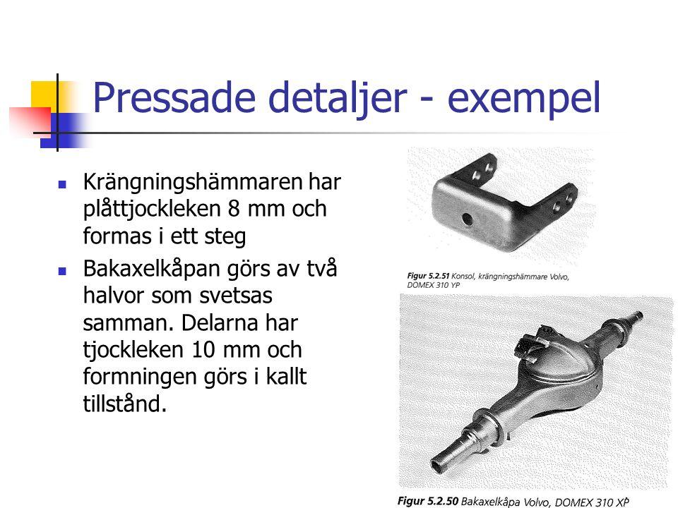Pressade detaljer - exempel Krängningshämmaren har plåttjockleken 8 mm och formas i ett steg Bakaxelkåpan görs av två halvor som svetsas samman.
